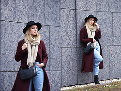 Agnieszka Warcaba - H&M Hat, New Look Coat, Zara Scarf, H&M Bag, Pull & Bear Jeans, Hd Boots - Long coat