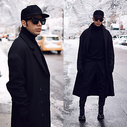 Franko Dean - Zara Turtleneck Sweater, Dr. Martens Military Boots, Asos Long Coat, Lanvin Supersize Sunglasses, Urban Outfitters Suede Hat, Asos Wide Trousers - All Black