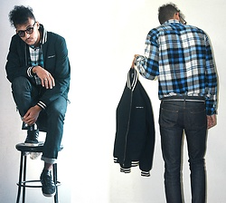Mohamed Samaras - Stussy Classic Plaid, A.P.C. Small New Standard Japanese Raw Stretch Denim, Carhartt Bomber Jacket Navy, Adidas Gazelle Core - Me, my chairs and I