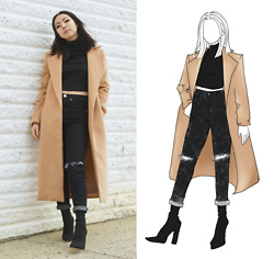 Yonish - Camel Coat, Boohoo Knee Slit Jeans, Boohoo Black Sock Boots - Minimal Edge