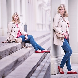 Lena B - Trenchcoat, Sweater, Bag, Denim, Flats - Trenchcoat & Red Striped