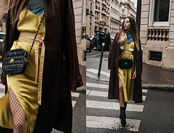 Bea G - Dress, Coat, Shoes, Bag - PFW Day 1: Canary Yellow