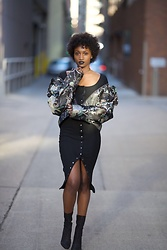 Sharnelle Clue - H&M Blck Dress, H&M Floral Jacket, Egoofficial Mesh Boots - Queening