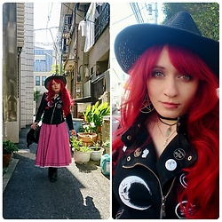 Asu Rocks - Vintage Straw Hat, Diy Customized Jacket, Vintage Skirt - Tokyo vintage finds