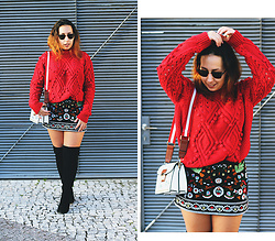 Mafalda M. - Zaful Red Jumper, Zaful Embroidered Skirt, Forever 21 Over The Knee Boots, Rosegal Embroidered Bag - THE RED JUMPER I WAS SEARCHING FOR