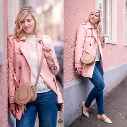 Lena B - Trenchcoat, Shirt, Bag, Denim, Flats - Pink Trenchcoat