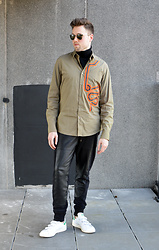 Jordi - Filippa K Merino Turtleneck, Dries Van Noten Curley Shirt, Avelon Leather Sweatpants, Adidas Velcro Stan Smith - Curley
