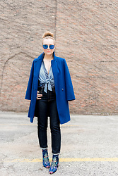 Ashley Hutchinson - Cobalt Wool Coat, Zara Tie Front Blue Striped Bodysuit, Ag Jeans Dark Wash Straight Leg, Zara Embroidered Blue Booties - Cobalt Coat + AG Jeans