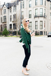 Ashley Hutchinson - Veda Green Suede Moto Jacket, Ag Jeans Striped Silk Blouse, Ag Jeans Dark Wash Skinny, Stuart Weitzman Cork Pumps - Green Suede Moto Jacket + Jeans