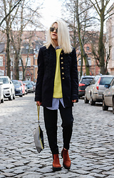 Diana Manolova - Zara Bright Yellow Sweater, Bershka Striped Shirt, Bershka Pants, Zara Military Look Coat, Mango Ankle Boots, Pimkie Clutch, Pull & Bear Sunglasses - Bright Yellow