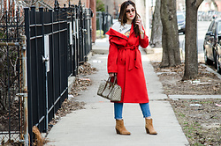 Christina N -  - Red Overcoat + Cropped Denim