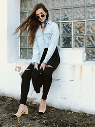 Melissa F - Madewell Chambray, Topshop Black Jeans, Zara Block Heels, Express Bandana - Denim on Demin (on Denim)