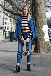 Lara - Asos Denim Jacket With Embroidery, Marco Polo Shirt With Stripes, Asos Cropped Jeans - Full Denim Look with Fancy Cat Bag