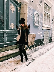 Kate Kamsa - Amelia Jane Double Pom Pom Hat, Tk Maxx Long Black Boots, Mango Little Black Dress - Lets be bunnies and share love