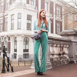Sonja Vogel - Wow To Go Green Flared Trousers, Wow To Go Green Top, Primark Polka Dot Satchel Bag - Green On Green