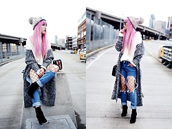 Aika Y - Asos Chunky Pom Pom Beanie, Forever 21 White Ripped Sweater, Long Cardigan, Forever 21 Distressed Jeans, Free People Fishnet Tights, Zara Lace Up Booties, Free People Mirrored Aviator Sunnies - Distressed Jeans x Fishnets