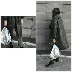 Yulia Sidorenko - Asos Puffer Coat, Dresslily Backpack, Mango Pants, Asos Boots - Puffer coat & silver backpack