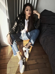 Thao Nhi Le - Gucci Ace Sneaker, Schott Ny Biket Jacket - Flashing by the Light