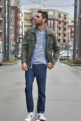Hector Diaz - 21 Men Olive Green Utility Jacket (Similar), J. Crew Baby Blue Gingham Square Button Down, J. Crew Cotton Deck Striped T Shirt, J. Crew Denim Joggers, Lacoste Sneakers - Spring Strikes Back