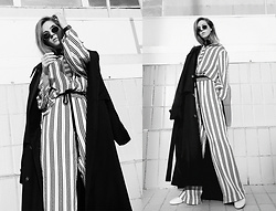 Sirma Markova - H&M Studio Trench Coat, H&M Studio Striped Silk Shirt, H&M Studio Striped Silk Trousers, H&M Shoes, Daniel Wellingoton Wristwatch - Minimal meets Classic | H&M Studio SS 17