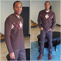 Thomas G - Banana Republic Sweater, Joe's Jeans, Kenneth Cole Reaction; Dress Shoes, Crucifixion Necklace - BR & JJ styling