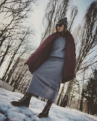 Anette U - Uniqlo Sweater, Uniqlo Skirt, Lindex Hat, Bershka Top, H&M Boots, H&M Sunglasses - Russian spring