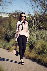 Lisa Valerie Morgan - Adriano Goldschmied Jeans, Raye The Label Sandals, Furla Bag Charm - Pink Pussy Bow Blouse and Canon Rebel Kit Giveaway!