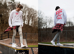 Corey Z - Yeezy Saint Pablo Tour Shirt, Represent Clothing Essential Denim, Vans White Slip On Low Tops, Koto Checkered Western Shirt - General Admission