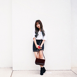Baoer Tang - Zalora Flurry Velvet Bag - Black and White is LOVE