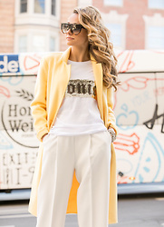 Lauren Recchia - Happiness Tee, Zara Coat, Zara Culottes - Iconic