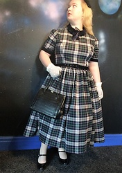Ellie Morris - Collectif Christina Sherwood Check Swing Dress, Claire's Sequin And Feathers Headband, Vintage 1960's Faux Crocodile Handbag, Schuh Black Heeled Mary Janes, White Crochet Gloves - 1950's Velvet and Tartan