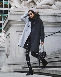 Gizele Oliveira - Discount Universe Pants, Oh Hey Girl Coat, Chanel Bag, Saint Laurent Boots - Nyc afternoon