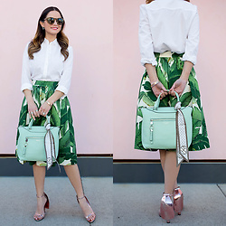 Jenn Lake - Party Skirts Palm Print Midi Skirt, Henri Bendel Crosby Tote, Alexander Wang Fabiana Cape Sandals, Nordstrom White Collared Shirt, Henri Bendel Olivia Sunglasses - Palm Print Midi Skirt