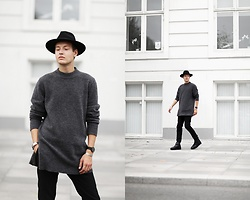 Patrick Pankalla - H&M Fedora Hat, Persuede Jewellery, H&M Wool Sweater, H&M Leather Boots, Tiger Of Sweden Trousers - Copenhagen