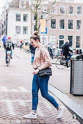 Alexandra H - Monki Sweater, Monki High Waist Jeans, Sacha Fun Sneakers, Chanel Classic Bag - Funky Sneakers & Pink in Amsterdam