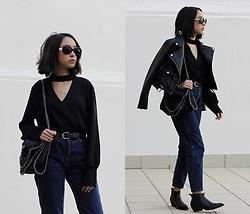 Esther L. - Zaful Choker Detail Blouse, Yoshop Falabella Bag, Missguided Leather Jacket, Pull & Bear Mom Jeans, Marypaz Cowboy Boots, Giant Vintage Kurt Sunnies - TOTE BAG