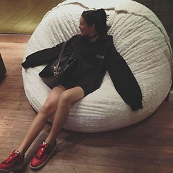 Catherinee Waa - Givenchy Antigona Medium, Stylenanda Black Oversized Hoodie, Nike Customized Airforce One - Casual + Comfortable