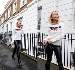 Silver Girl - Tommy Hilfiger White Jumper, Asos Leather Leggings, Paul Smith Leather Boots - TOMMY GIRL