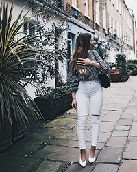 Tania - Zara Top, Zara Jeans, Zara Shoes - White Jeans & Gingham