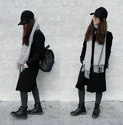 Mon M - Reserved Scarf, Deichmann Military Boots, Calliope Skinnies, Homemade Winter Coat, Leather Backpack, Beloved Cap - The last days of winter coat.