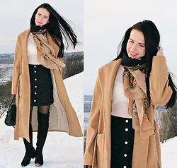 Maria Perchekliy - Mango Coat, Zara Bag, Zaful Boots, H&M Studio Sweater, Vintage Scarf, H&M Skirt - Here comes THE SPRING