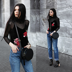 CLAUDIA Holynights - Shein Embroidered Top, Vipme Circle Bag, Na Kd Vintage 501 Jeans, Ego Boots - Embroidered top