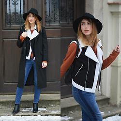 Monika Tremski - Zaful Coat, Shein Vest, Zara Jeans, Dresslily Backpack - Shearling vest