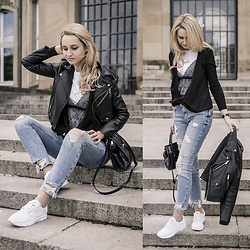 Adriana M. - Zara Blue Jeans, Zara White Tee With Lace Top, Vans White Sneakers, Zara Black Leather Jacket - Casual saturday style.