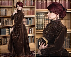 Saija Sasetar - Gothic Lolita Wigs Countess Wig, Bodyline Bow Clip, Handmade By Me Victorian Walking Dress Velvet Jacket, Handmade By Me Victorian Velvet Bustle Skirt - Victorian governess
