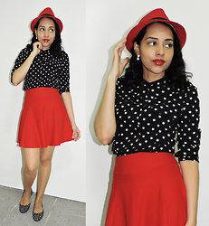 "Lídia Rayanne - C&A Polka Dot Shirt, Red Skirt, Red Hat, Alice Disse Polka Dot Flat Shoes - ""When I look at the stars I see Someone else"