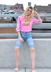 Dani Mikaela McGowan - Monogram Graphic T Shirt, Camixa Gingham Button Down Shirt, Asos Denim Cut Off Shorts, Topshop Pink Marabou Pumps, Forever 21 Retro Aviators - Bubblegum Pink