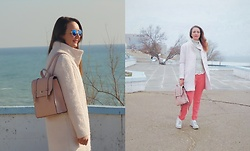 Galina K - Defacto Coat, Shein Backpack - Pink coat and backpack