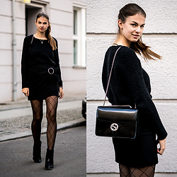 Jacky - Vila Sweater, Zara Skirt, Aldo Boots, Gucci Bag - Black Skirt x Fishnet Tights