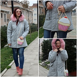 Rebel Takipte - Rosewholesale Grey Parka, Ami Club Wear Pink Boots - Cotton Candy